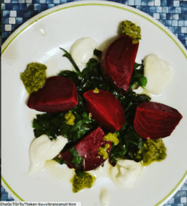 Vanilla Scented Beets and Their Greens with Whipped Goat Cheese and Pesto