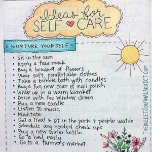 Keep self-care options on hand for when you need them but are too frazzled to recall what works (photo@thebulletjournaladdict.com)