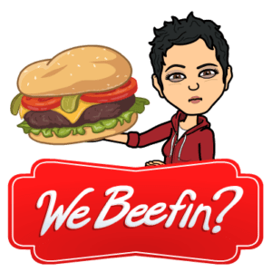 bitmoji aimee beef hamburger eat