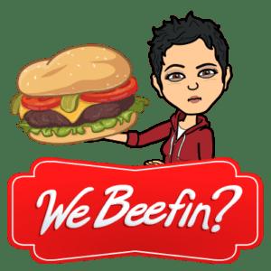 bitmoji aimee beef hamburger eat